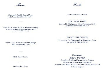 Ladies Night menu at the House Of Commons, June 7th 2013